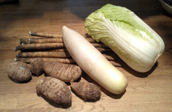 Pictured from L to R: gobo, sato emo, daikon, napa.