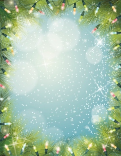 Christmas Lights Evergreen Background Frame